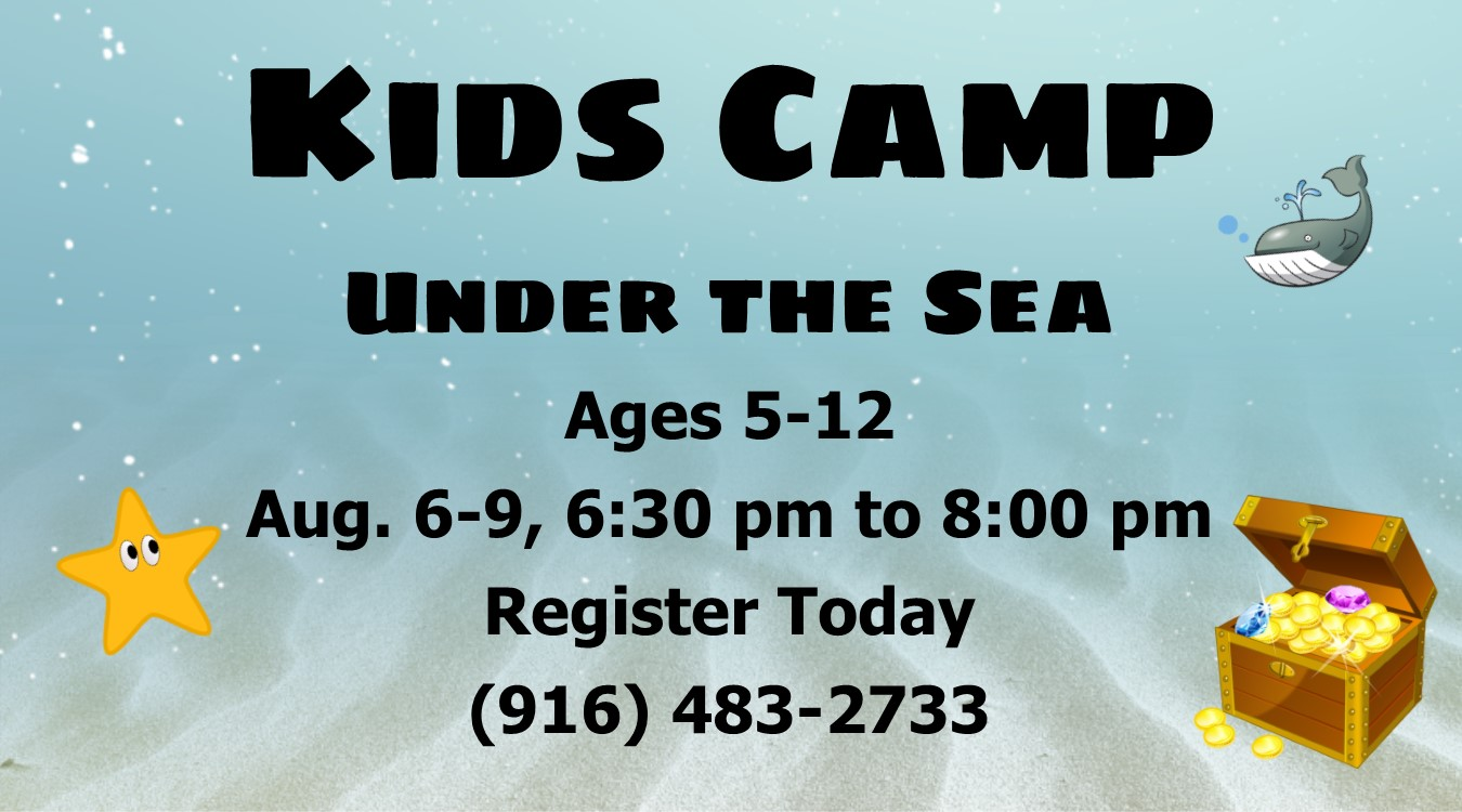 Banner with info about Arden Christian Church 2019 Vacation Kid's Camp